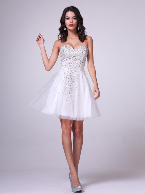 CD Short Strapless Beaded Sweetheart Dress