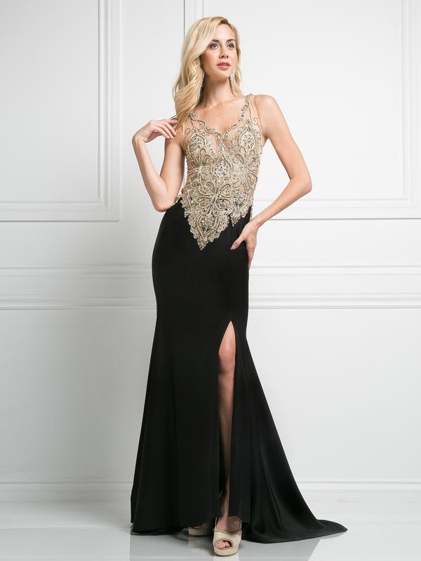 CD Sleeveless V-Neck Evening Dress