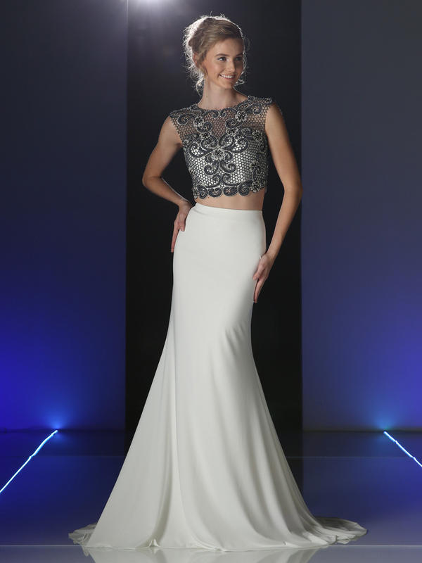 CD Two piece Sleeveless Beaded Prom Evening Dress