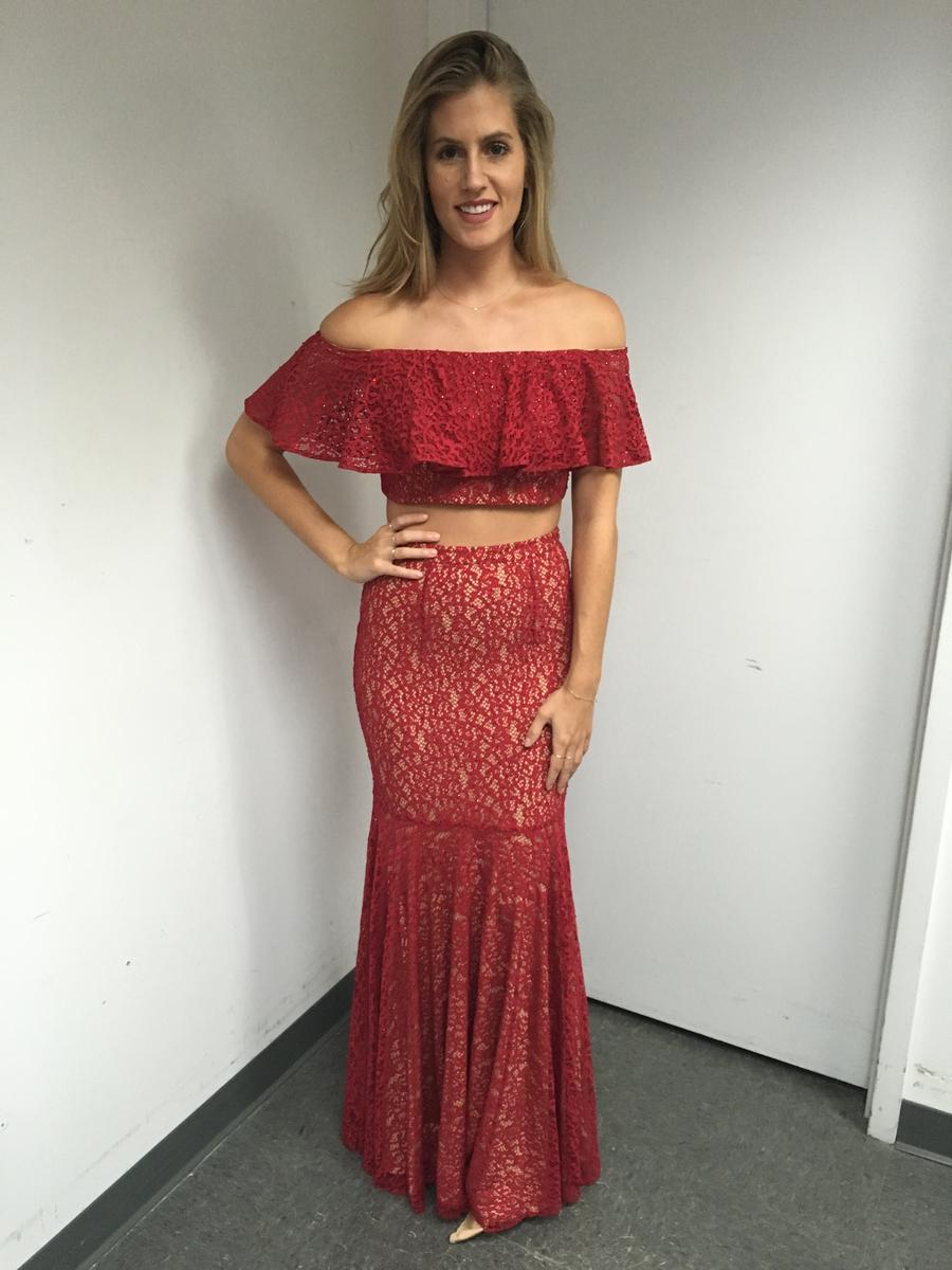 Long Two-Piece Off The shoulder Stretch Lace Dress Jovani JP49740