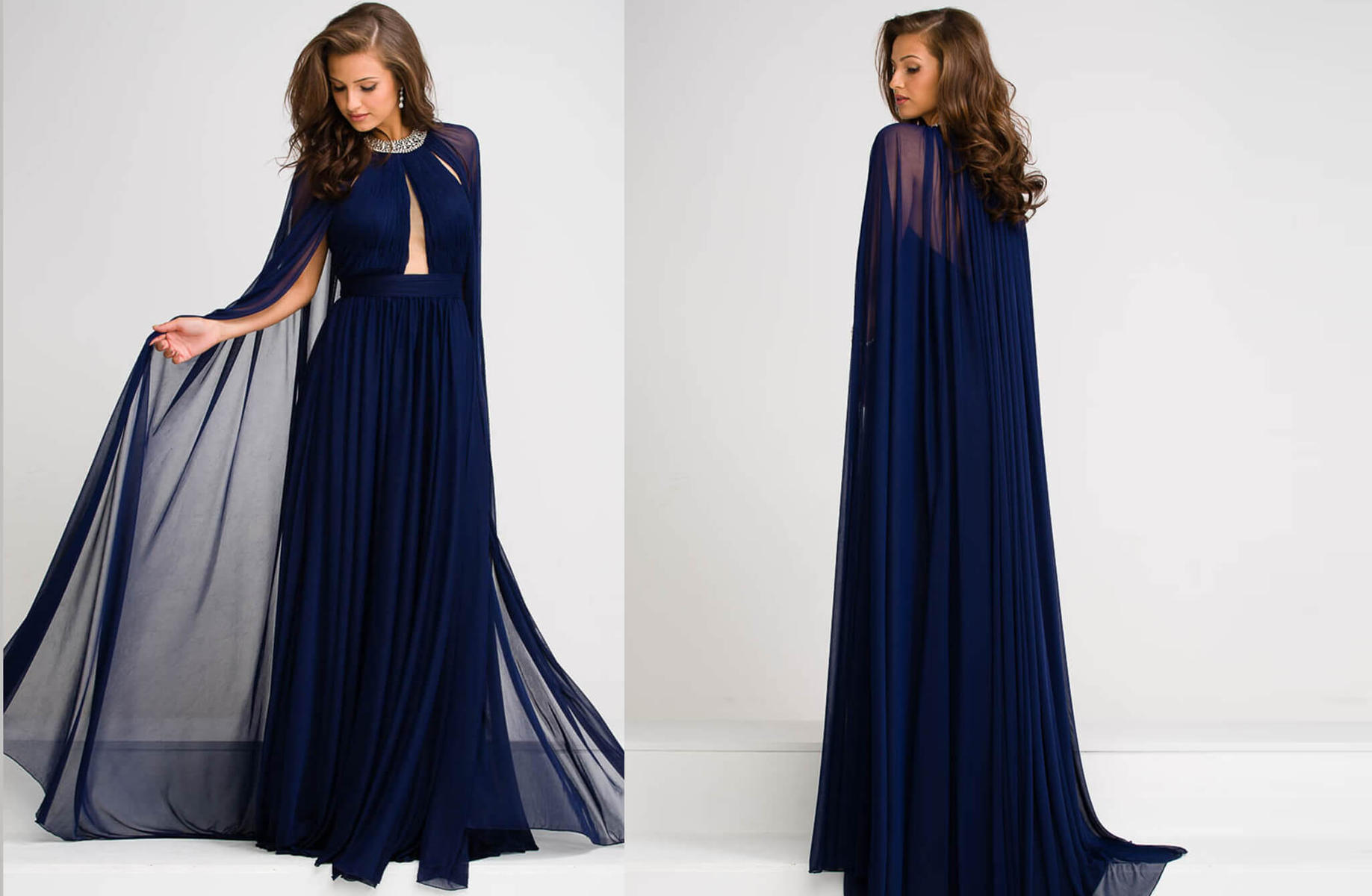 Jovani Chiffon Cape Dress