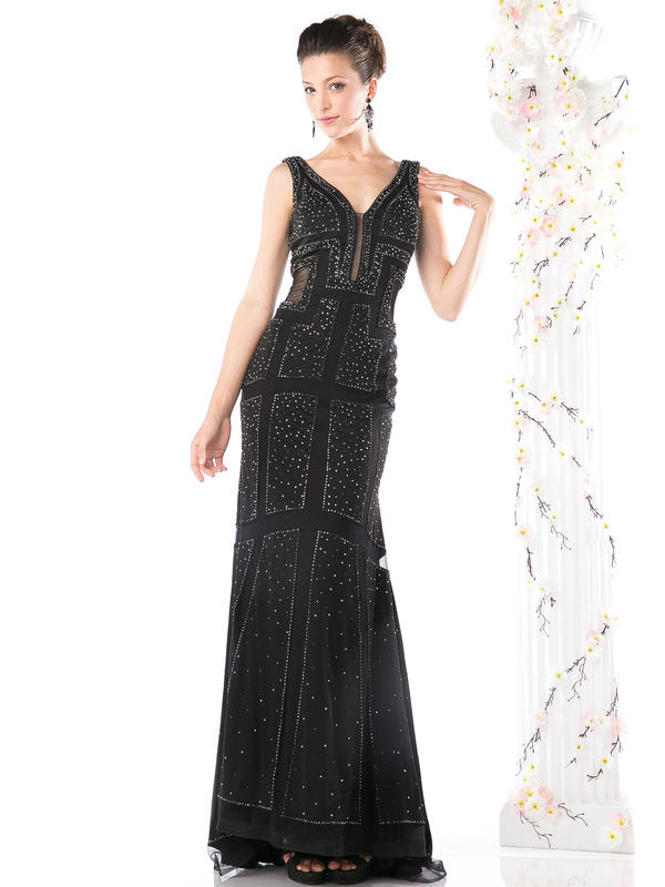 CD Sleeveless V-neck Beaded Evening Dress