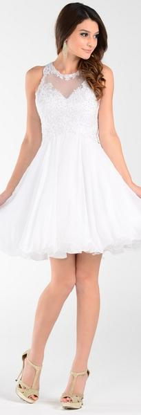 POL  Short A Line Chiffon Prom Dress Sheer Neck