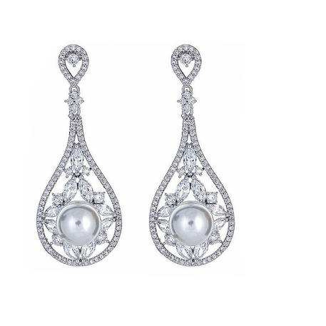 Large Pearl Center Drop Earring