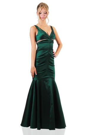 Xscape Satin Ruched Gown with Bead Waist