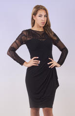XS7667 Xscape Dress with Mesh Sleeves