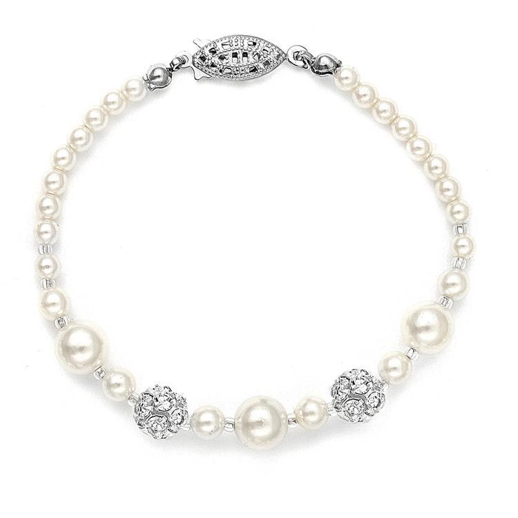 Pearls & Rhinestone Fireballs Bracelet