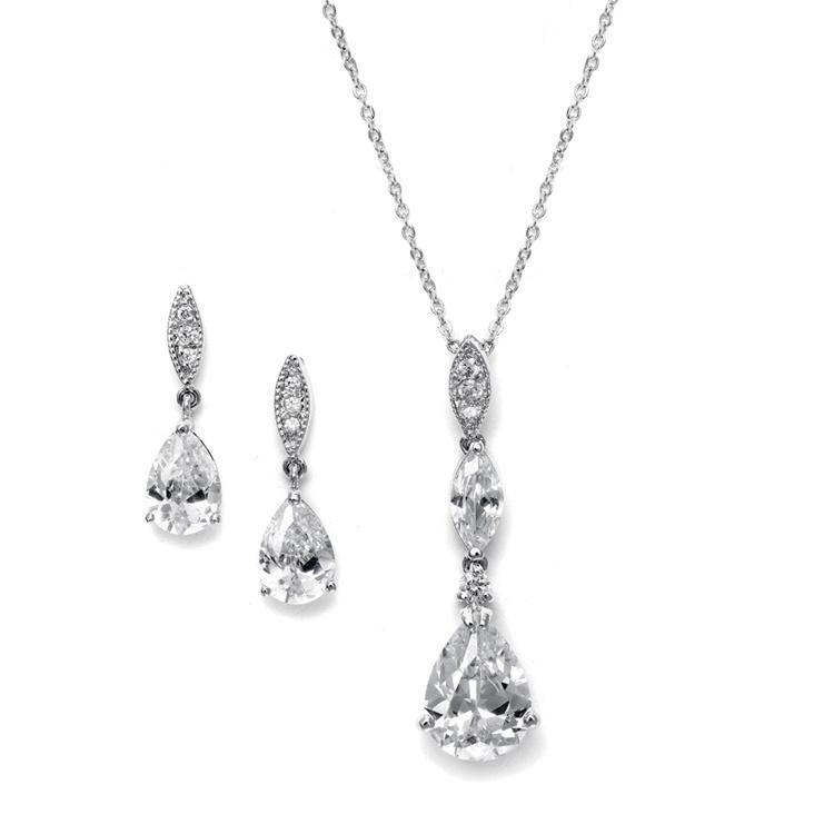 Cubic Zirconia Pear Drop Necklace Set