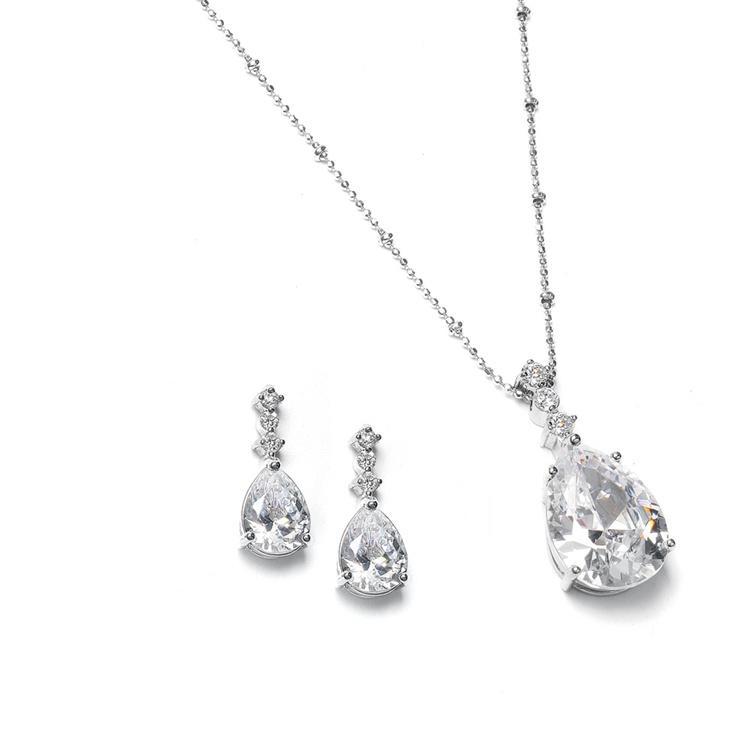 CZ Pear Shaped Drop Necklace Set