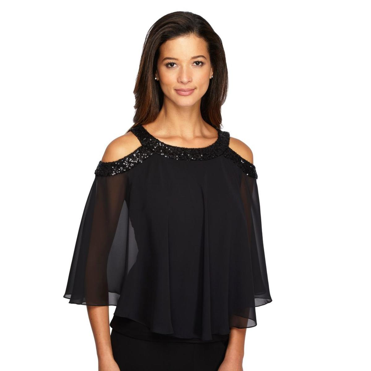 Chiffon Sequin Off-the-Shoulder Top