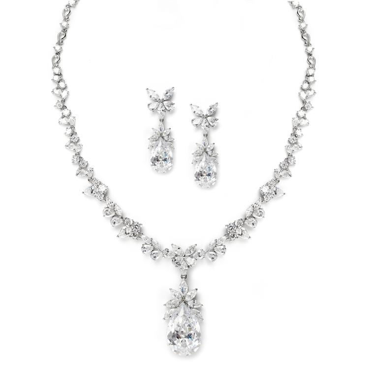 Cubic Zirconia Tear Drop Necklace Set