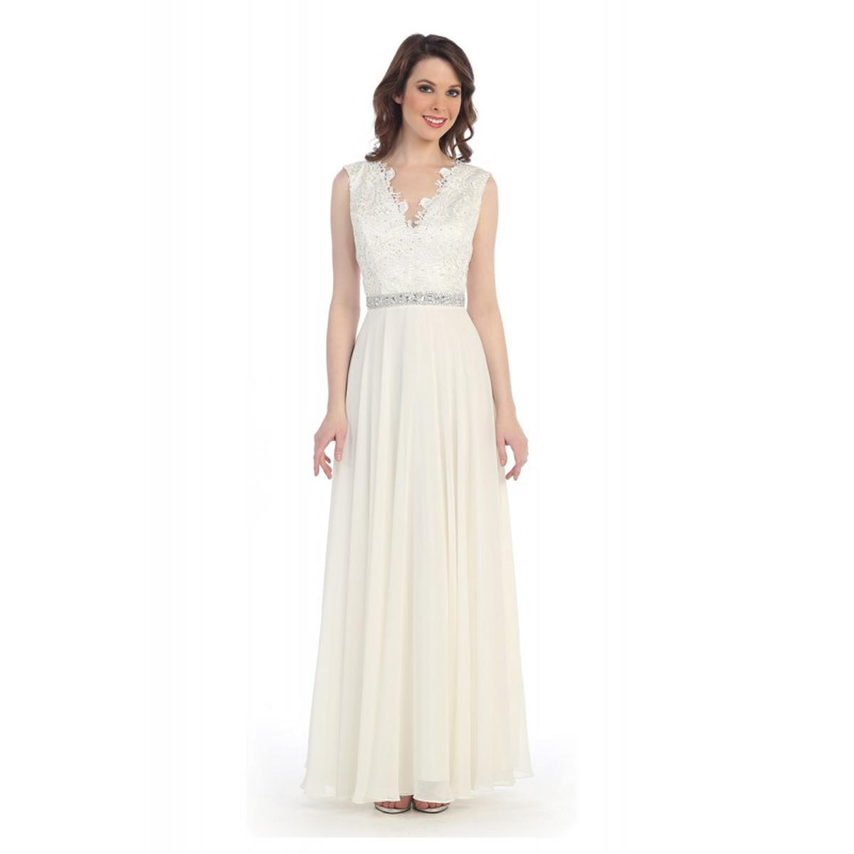 Beaded Waist Lace Bodice Gown