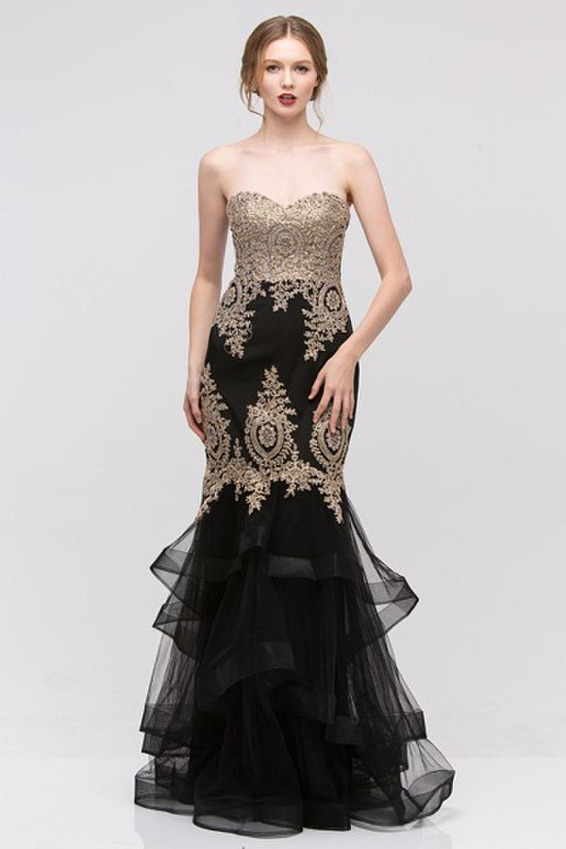 Strapless Embellished Tulle Gown