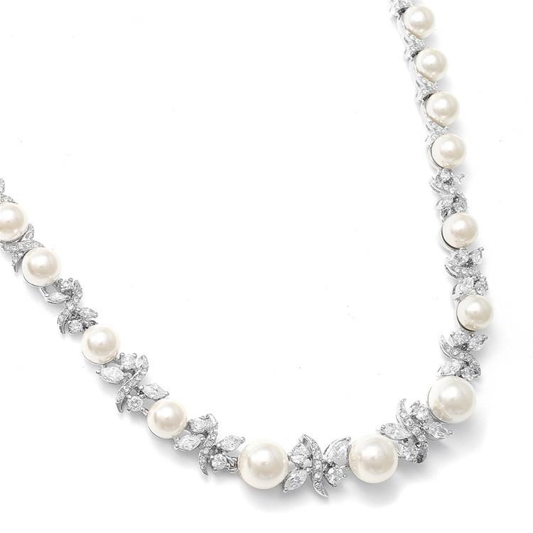 Pearl & Cubic Zirconia Necklace