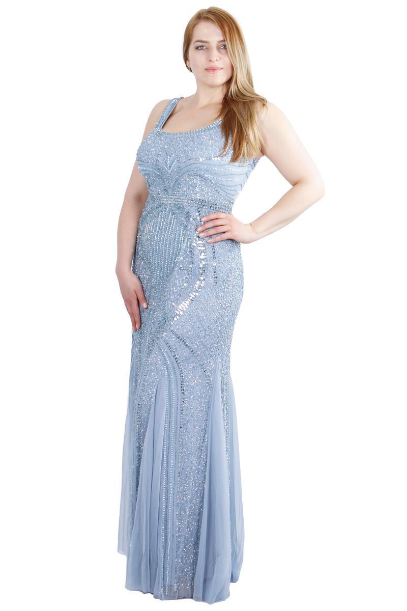 Long Sleeveless Beaded Gown