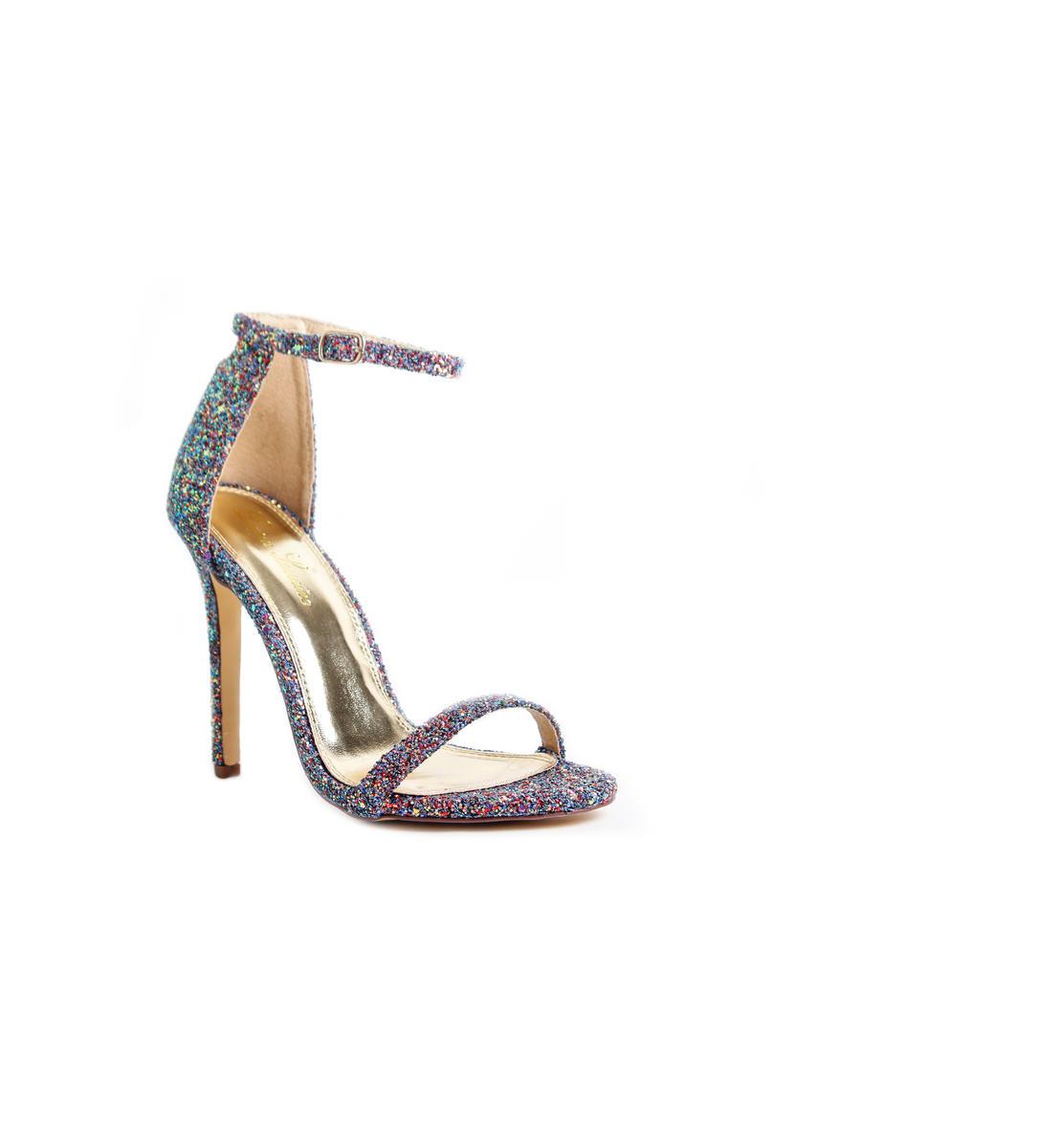 Ankle Strap Open Toe Glitter Heel