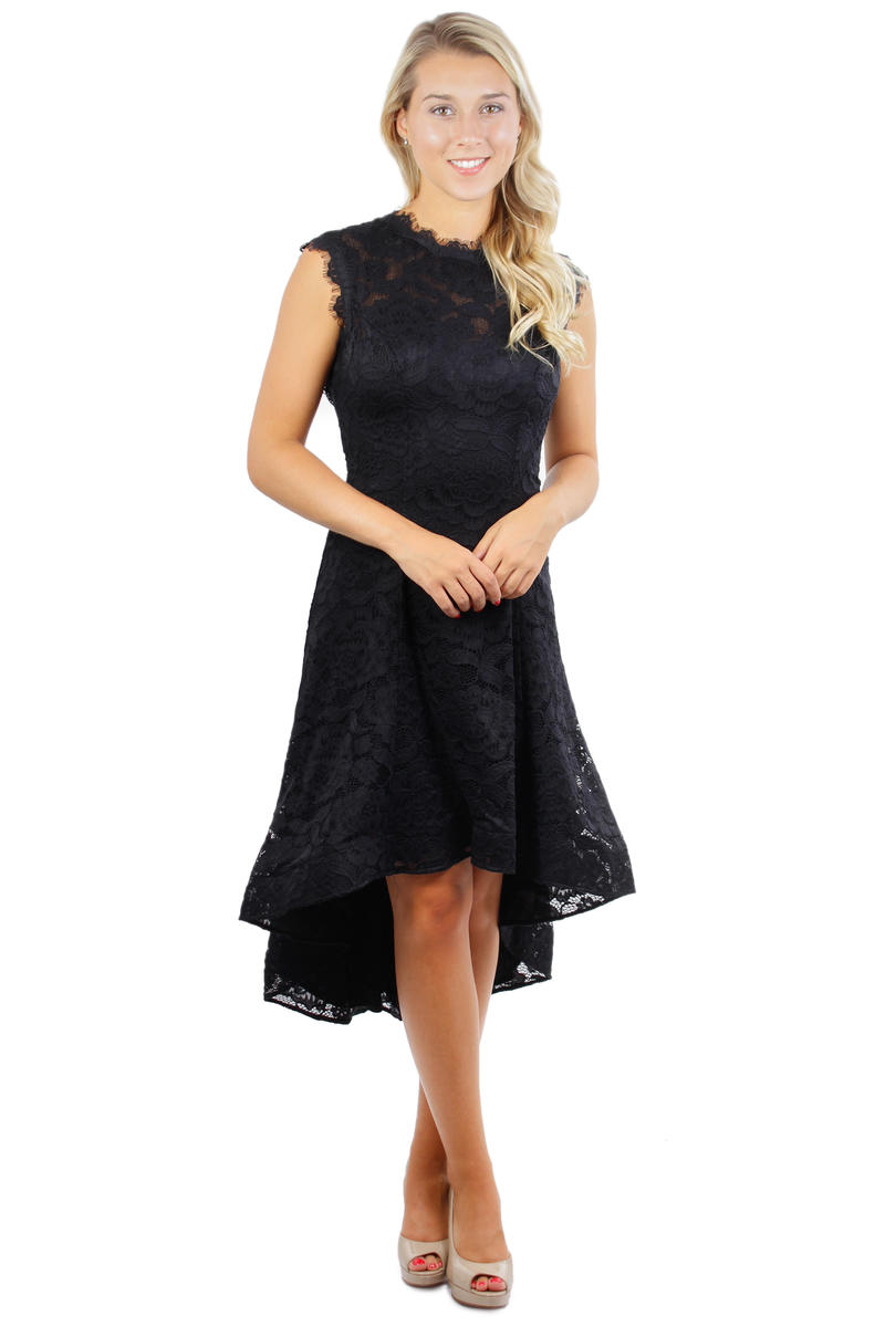 Lace Sleeveless High-Low Dress