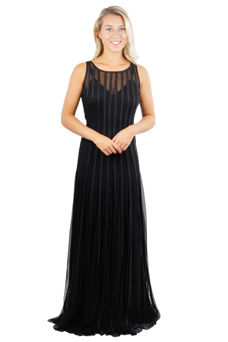 Sleeveless Mesh Satin Stripe Gown
