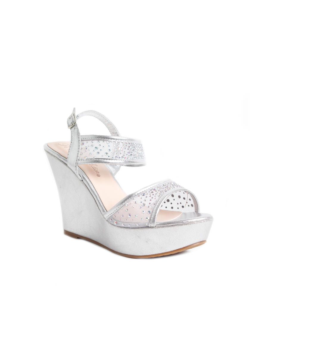 Rhinestone Wedge Mesh Strap Shoe