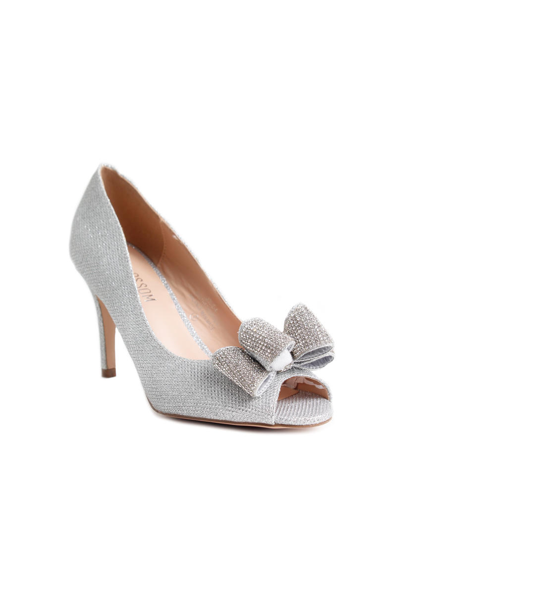 Glitter Peep Toe Bow Pump