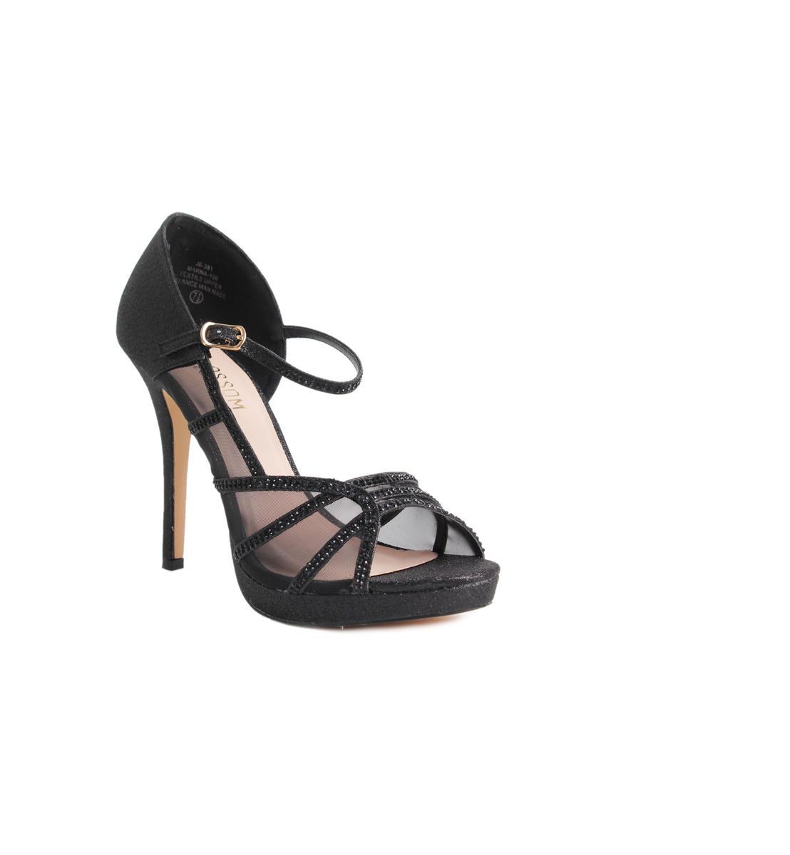 High Heel Glitter Mesh Ankle Strap