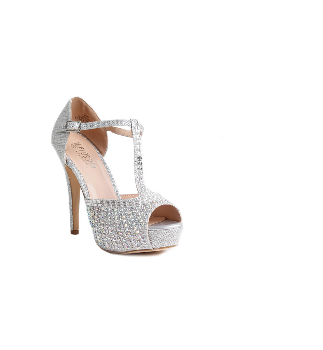 High Heel Glitter T-Strap Rhinestone