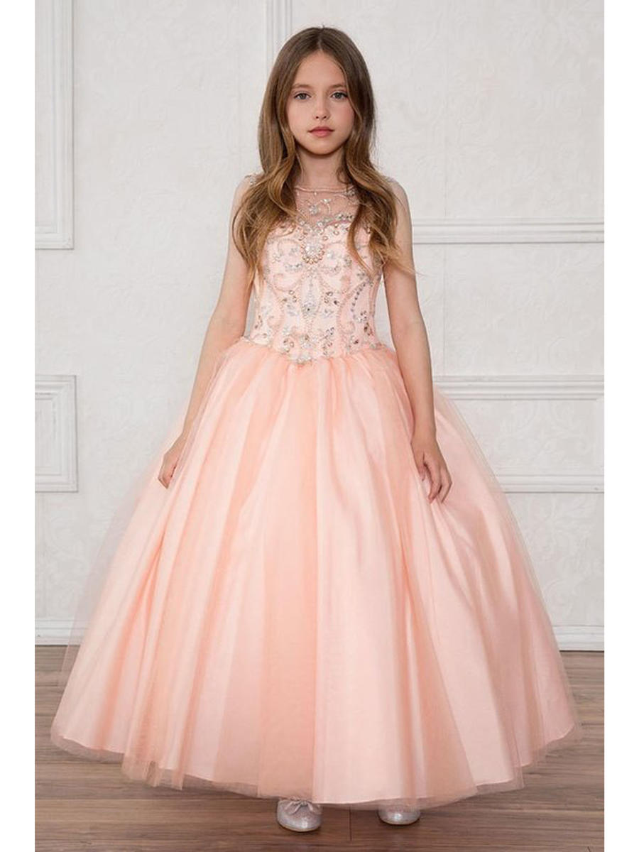 Jeweled Illusion Bodice Tulle Ball Gown