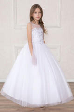 Floral Embroidered Illusion Bodice Tulle Ball Gown