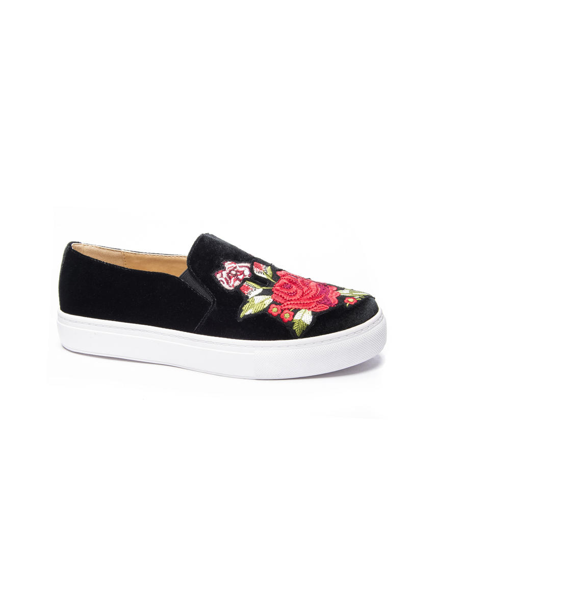Embroidery Flower Velvet Sneaker