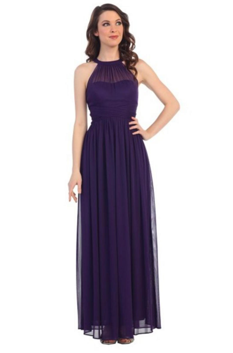 Beaded Halter Neck Long Gown