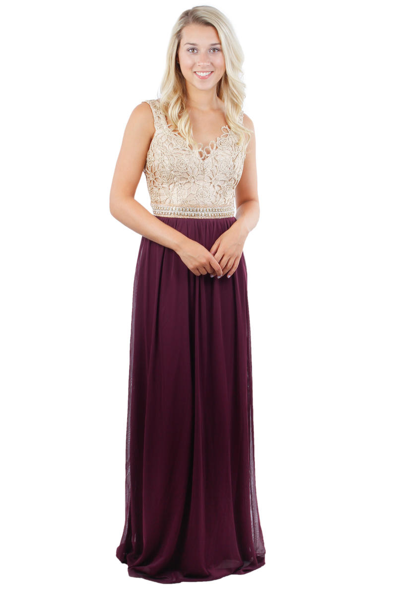 Metallic Crochette Bodice Long Gown