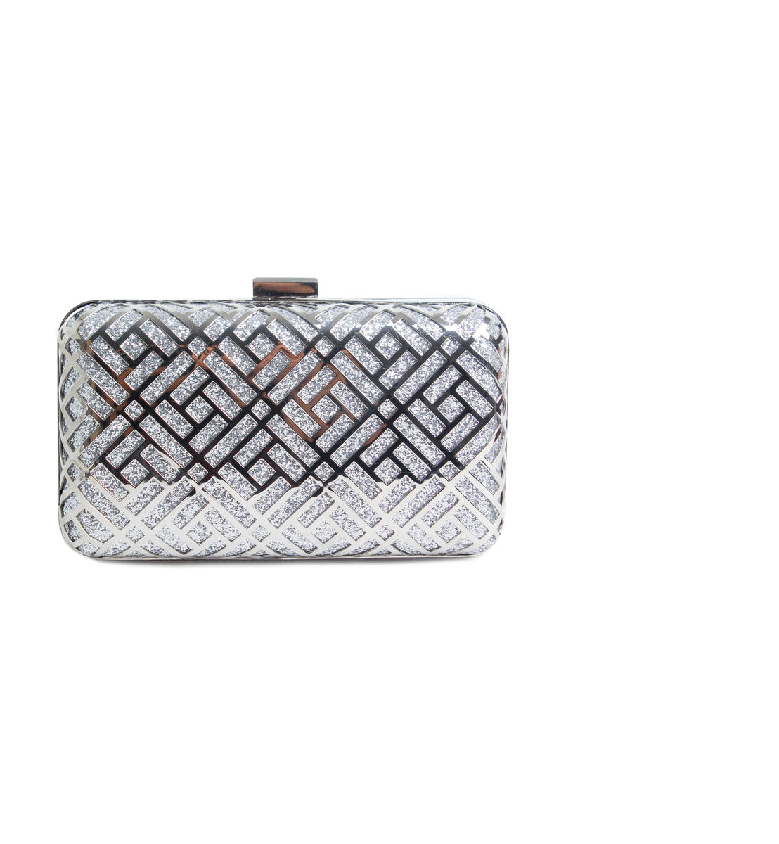 Metallic Cutout Hard Case Clutch