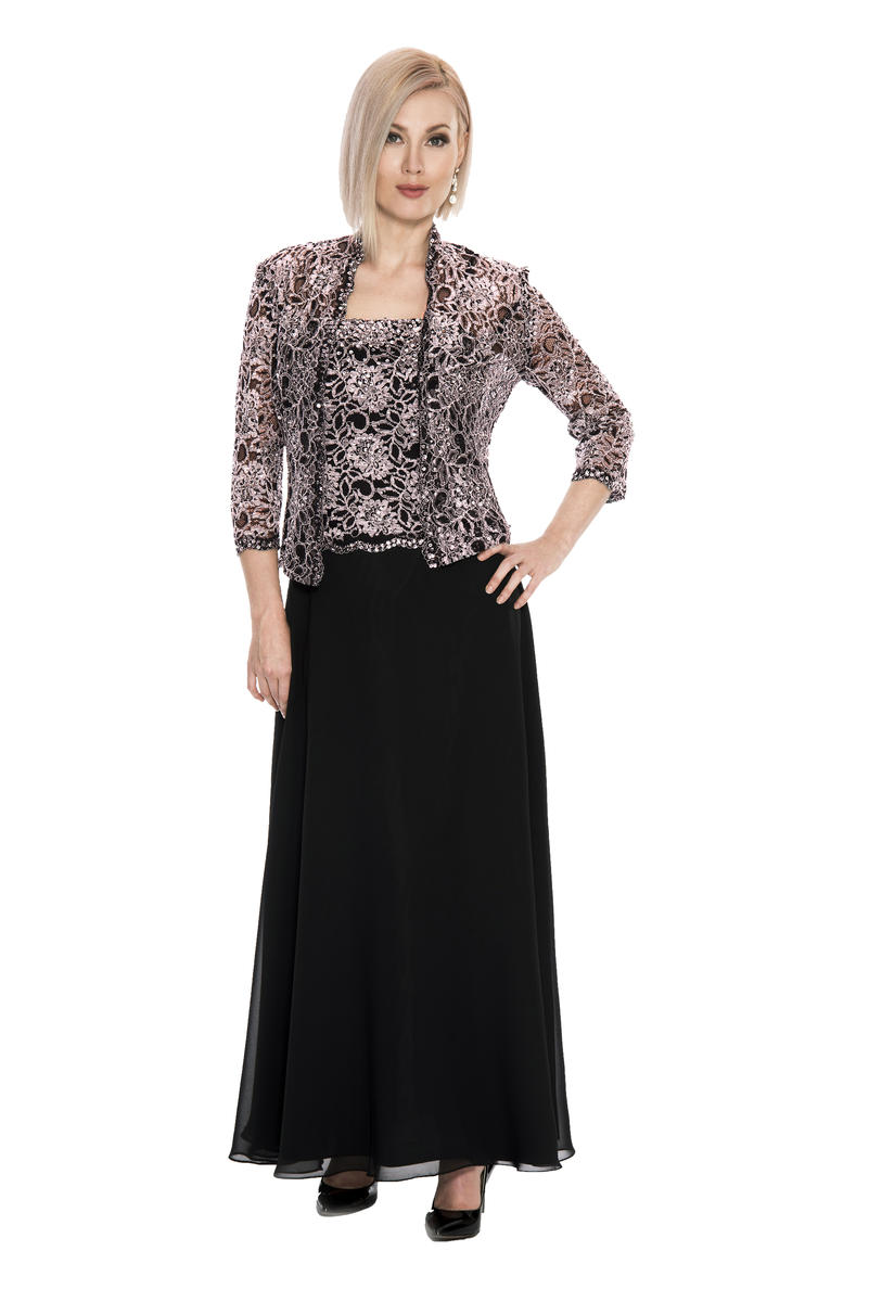 Lace Chiffon Gown with Jacket