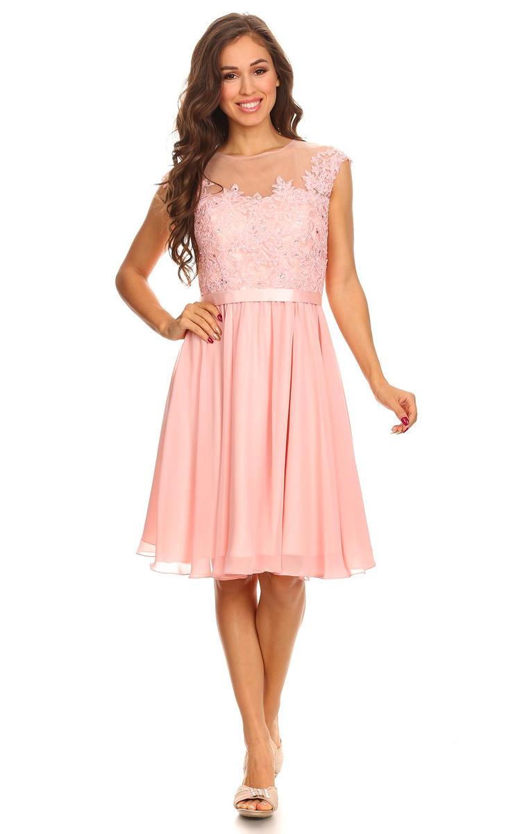 Sheer Lace Bodice Chiffon Dress