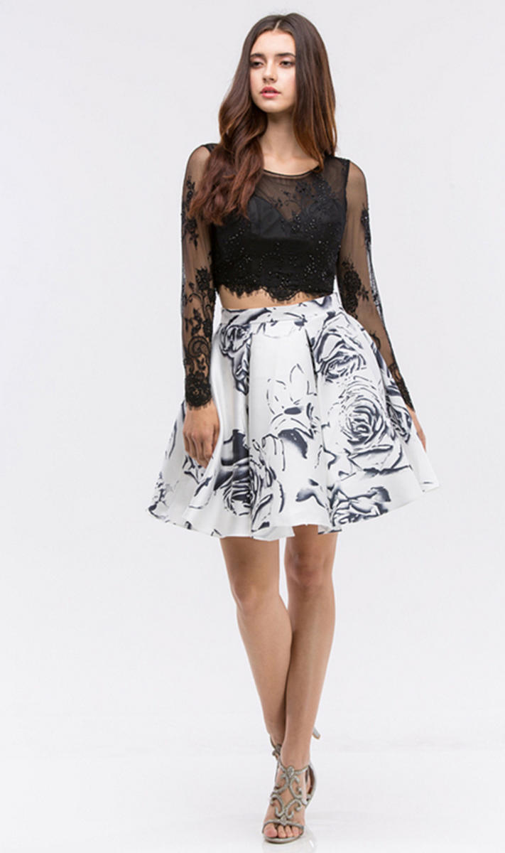 2PC Lace Top Print Skirt Dress