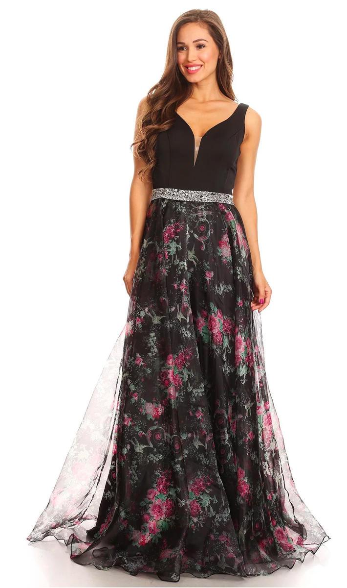 Print Rhinestone Waist Gown
