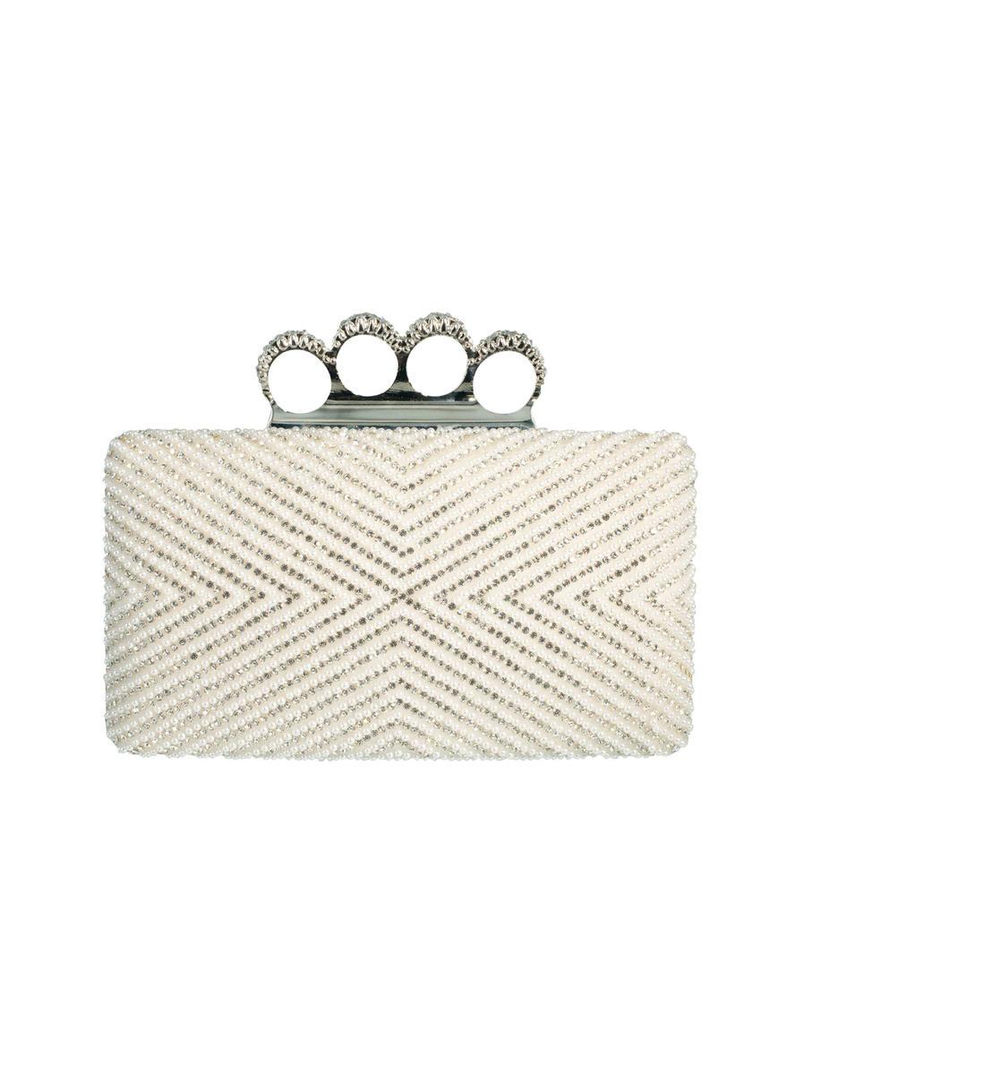 Rhinestone & Pearl Metal Frame Clutch