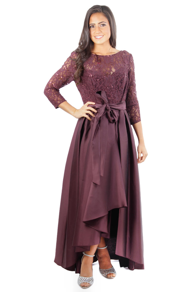 Long Sleeve Lace Bodice High Low Gown