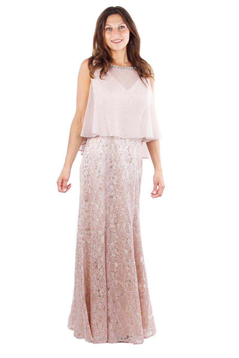 Long Lace Gown Mock Cape