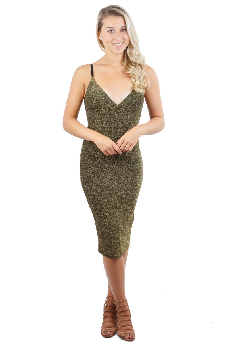 Spaghetti Strap Metallic Dress