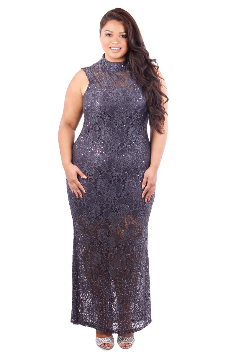 Halter Neck Metallic Lace Gown