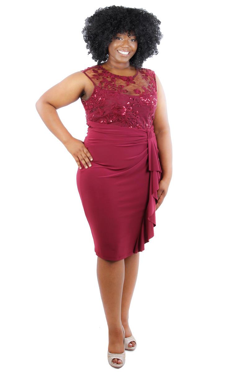 Sheer Lace Bodice Wrap Waist Dress