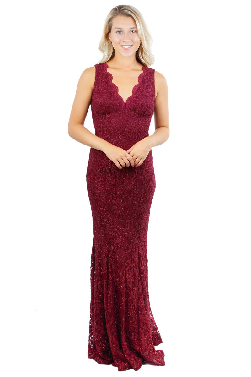 Lace Scalloped V-Neck Gown