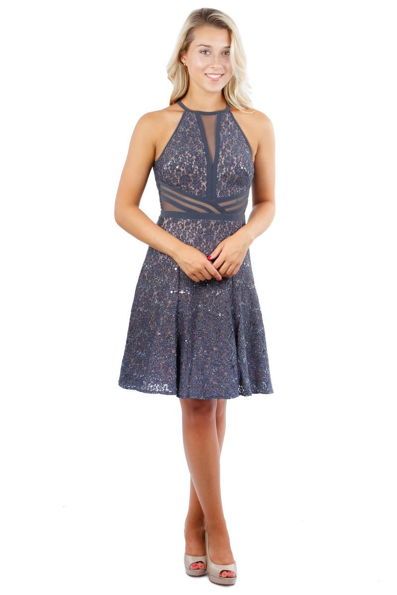 Metallic Lace Dress Sheer Waist