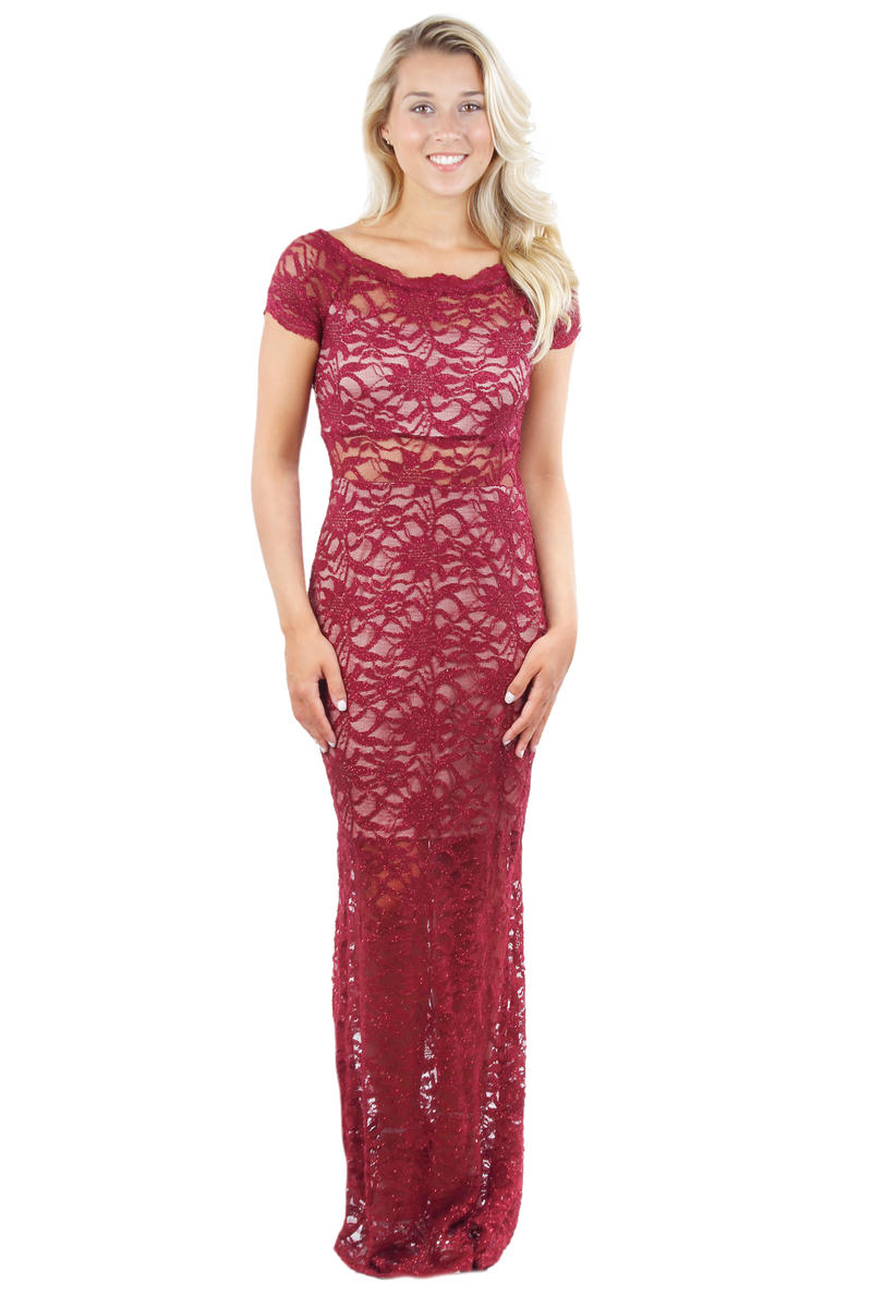 Short Sleeve Lace Metallic Gown