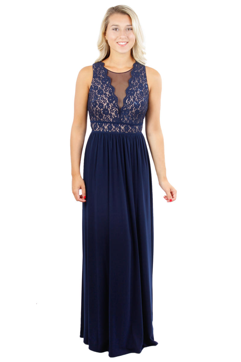 Lace Metallic Bodice Long Gown
