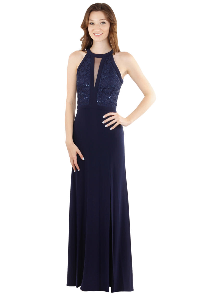 Metallic Lace Halter Jersey Gown