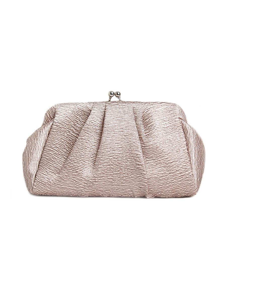 Textured Satin Pleated Pouch Clutch