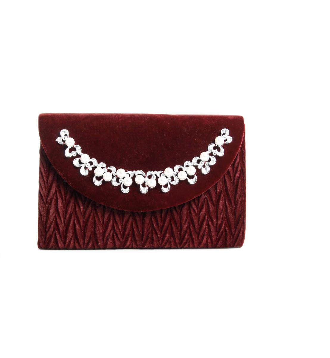 Velvet Pearl Embellished Clutch