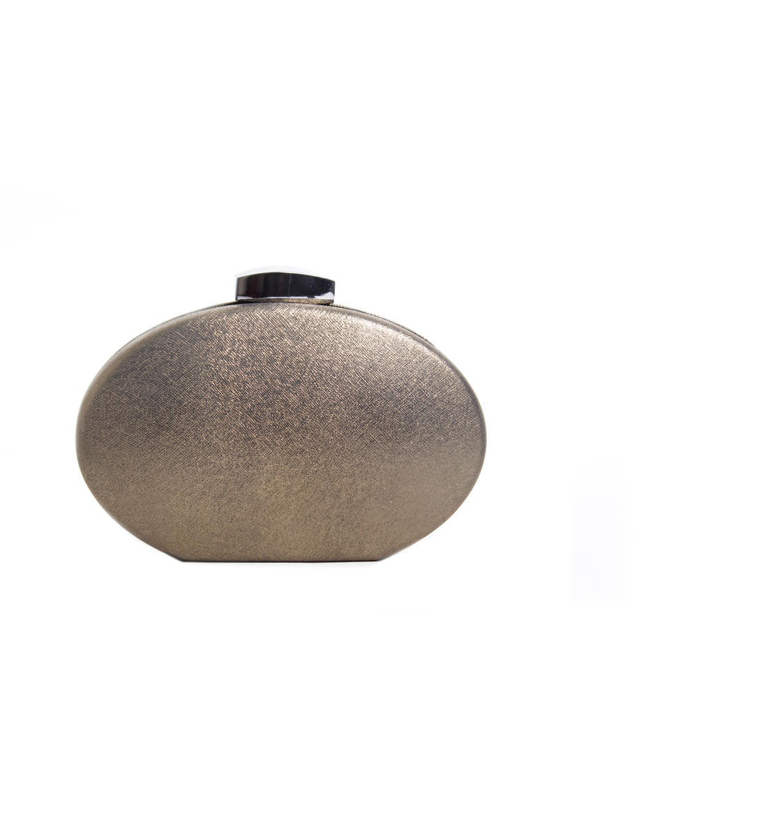 Faux Leather Glitter Oval Clutch